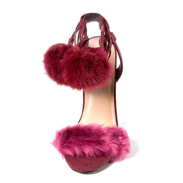 <p><b>OPULENCE</b><br><p>Wine Red Silky Fur Heels</p>