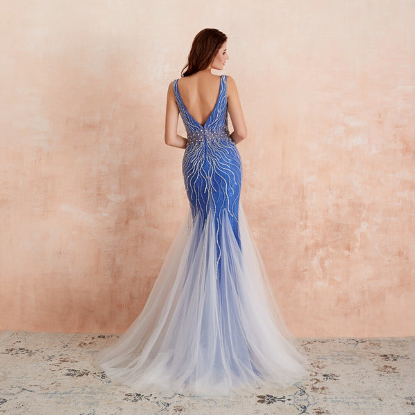 "<p style=""font-size: 18px;""><b>ALYSSA</b></p><p style=""color:grey"">WEB DESIGN CRYSTAL BEADED MERMAID GOWN-BLUE</p>"