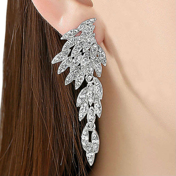ANGELIC - Rhinestone Crystal Feather Shaped Earrings