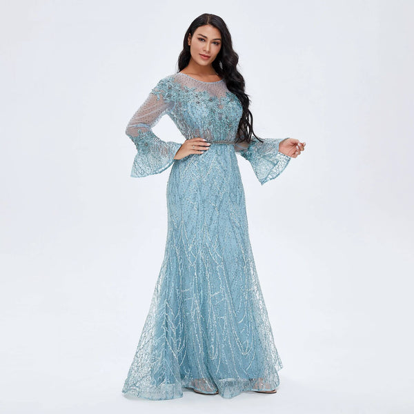 "<p style=""font-size: 18px;""><b>ARIANA</b></p><p style=""color:grey"">CRYSTAL EMBELLISHED BELL SLEEVE MERMAID GOWN</p>"