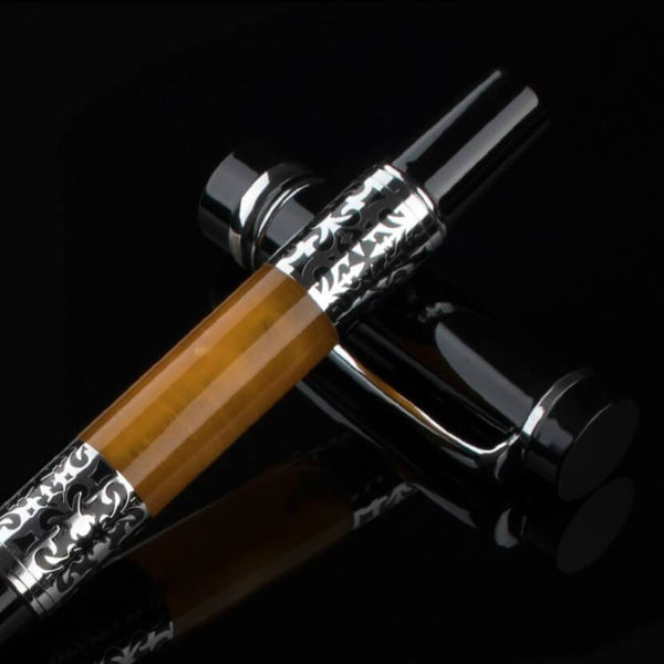 Black Amber Fusion Fountain Pen Elegant Classic Design With Contrasting Black And Wood Body And Baroque Pattern Silver Trim