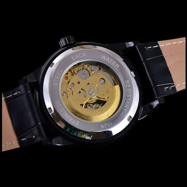 Black Diamond Classique Timepiece Classic Gold Vintage Design Automatic Skeleton Watch With Black Case Bezel And Black Leather Strap