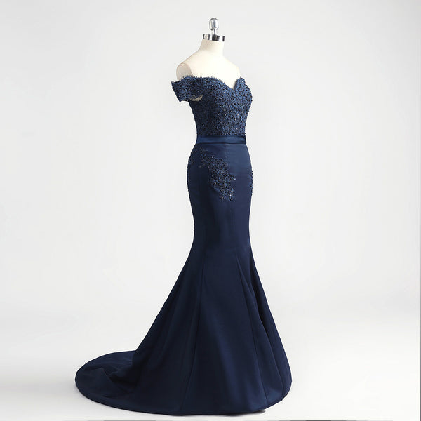 CELINE - Lace Appliqued Off the Shoulder Satin Gown