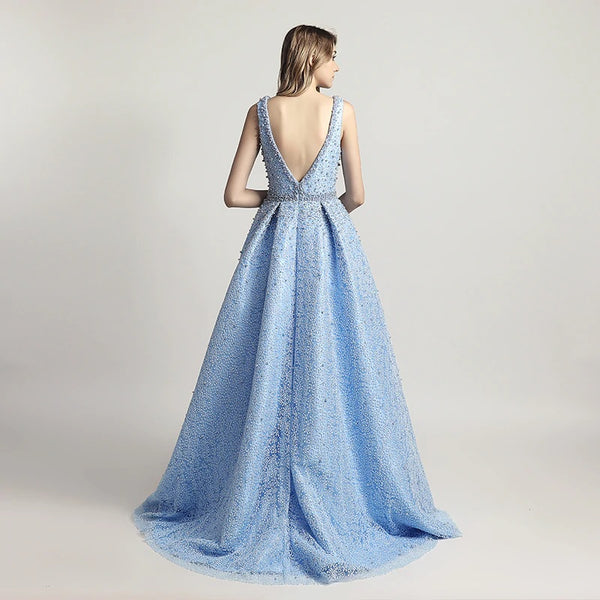"<p style=""font-size: 18px;""><b>CELINE</b></p><p style=""color:grey"">PEARL BEADED LOW-V NECK BALL GOWN-BLUE</p>"