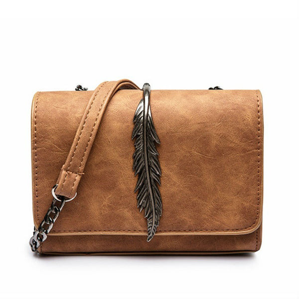 CHARISMA - Feather Detail Lock Crossbody / Shoulder Bag