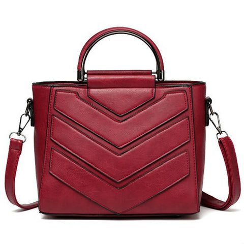products/Chevron-Top-Handle-Grained-Leather-Handbag-Red-Colour-Image-1.jpg