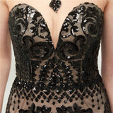 "<p style=""font-size: 18px;""><b>CRYSTAL ALLURE</b></p><p style=""color:grey"">BLACK SEQUIN EMBELLISHED MERMAID GOWN</p>"