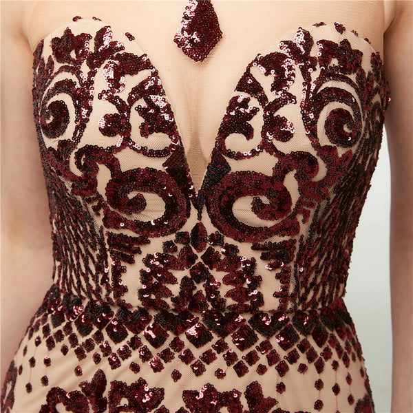 CRYSTAL ALLURE - All-Over Sequin Embellished Red Wine Tulle Gown