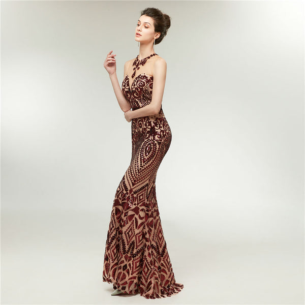 "<p style=""font-size: 18px;""><b>CRYSTAL ALLURE</b></p><p style=""color:grey"">DEEP WINE SEQUIN EMBELLISHED MERMAID GOWN</p>"