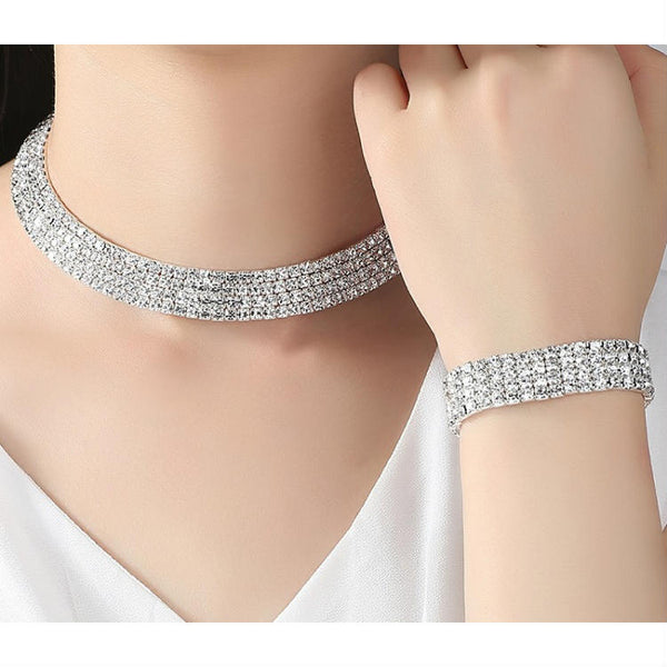 CRYSTAL LUXE - Rhinestone Crystal Choker Necklace, Earrings & Bracelet Set