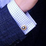 CRYSTAL NOIR - Signature Gold Plated & Crystal Cufflinks