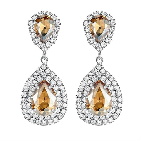 CRYSTAL PEARS - Rhinestone Crystal Champagne Pear Shaped Earrings