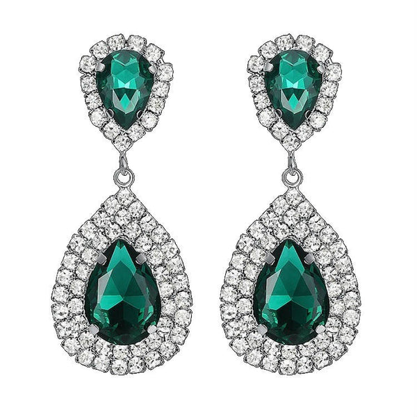 CRYSTAL PEARS - Rhinestone Crystal Emerald Pear Shaped Earrings