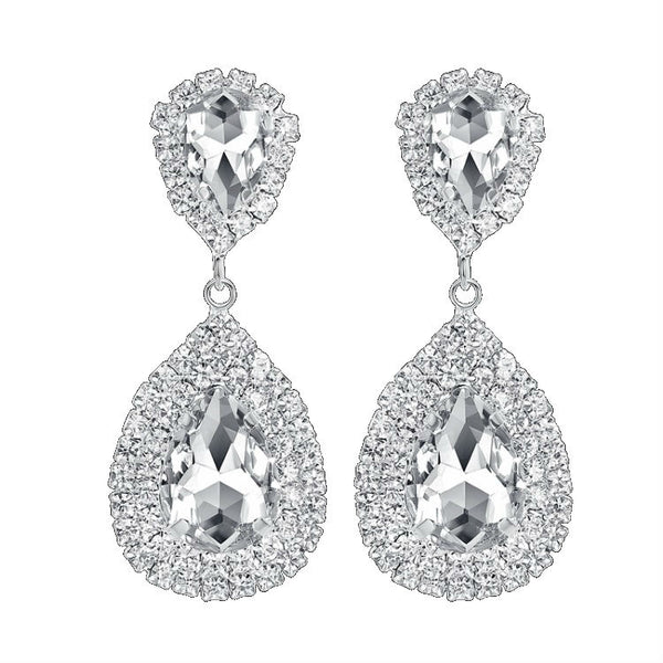 CRYSTAL PEARS - Rhinestone Crystal Silver Pear Shaped Earrings