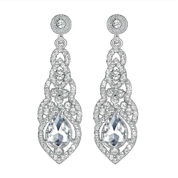 DESIRE - Rhinestone Crystal Silver Drop Earrings