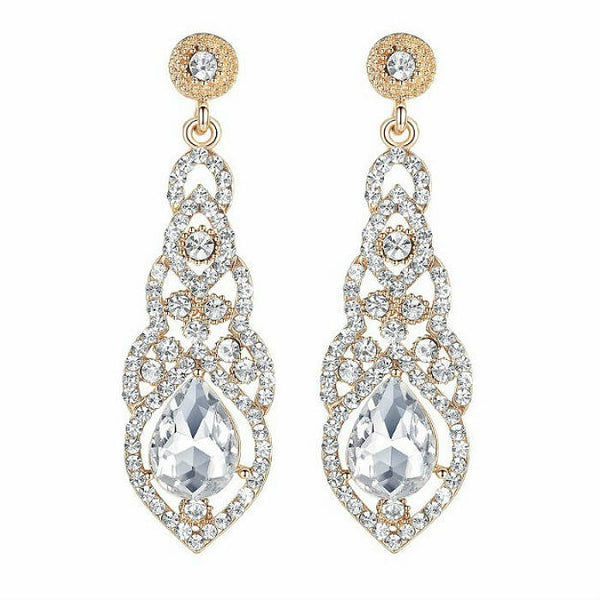 DESIRE - Rhinestone Crystal Silver & Gold Tone Drop Earrings