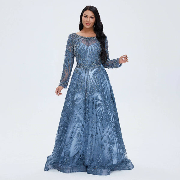 "<p style=""font-size: 18px;""><b>ELEKTRA</b></p><p style=""color:grey"">CRYSTAL BEADED VINTAGE LACE A-LINE GOWN</p>"