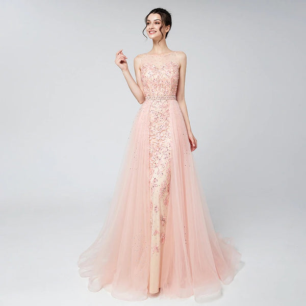 "<p style=""font-size: 18px;""><b>ELLA</b></p><p style=""color:grey"">FLORAL EMBROIDERED CRYSTAL BEADED CAPE GOWN-PINK</p>"
