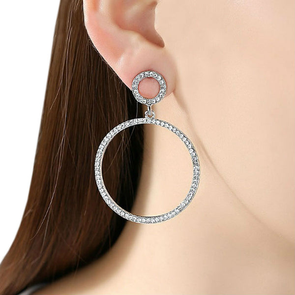 EMBELLISHED - Pink Rhinestone Crystal Hoop Earrings