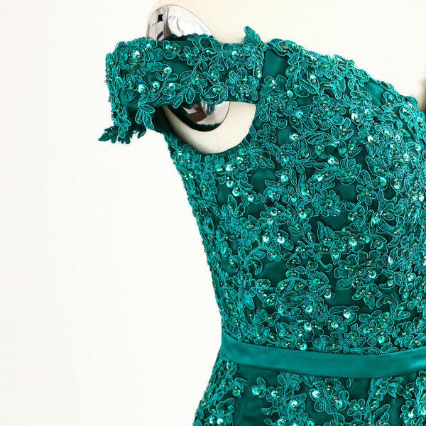 EMERALD - Sequin & Lace Appliques Tulle Gown