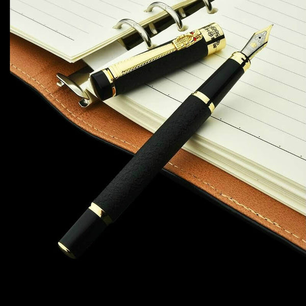 Emperor Noir Fountain Pen With Gold Dragon Clip Classic Chinese Culture Design With Black Body And Gold Plated Nib