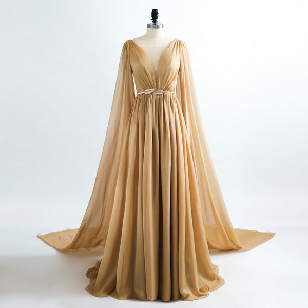 "<p style=""font-size: 18px;""><b>EMPRESS</b></p><p style=""color:grey"">SHOULDER CAPE CHIFFON GOWN</p>"