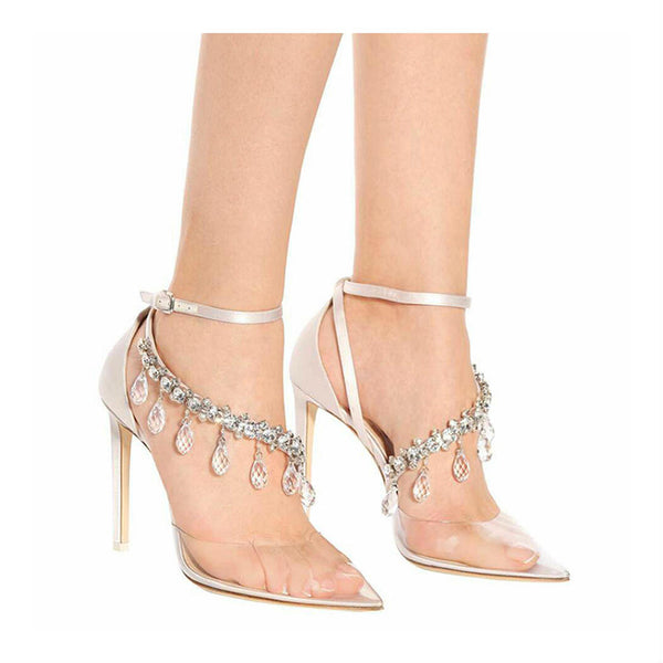 ENVY - Silk Crystal Strap Court Heels