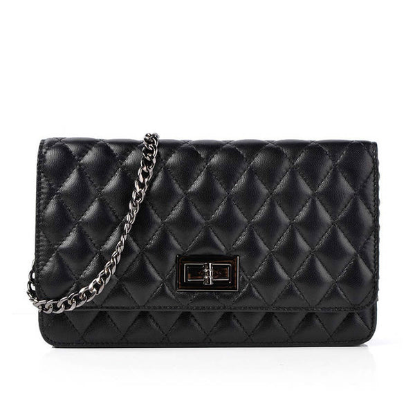 ETERNAL - Diamond Stitched Leather Shoulder Bag