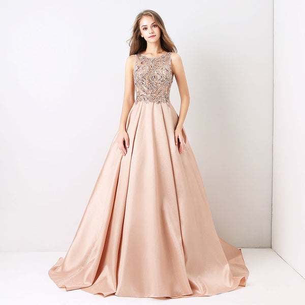"<p style=""font-size: 18px;""><b>FAIRY TALE</b></p><p style=""color:grey"">CRYSTAL & SEQUIN BEADED SATIN GOWN</p>"