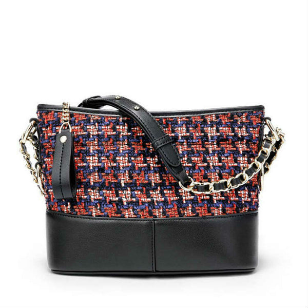 FUSION - Plaid Wool & Leather Shoulder Bag