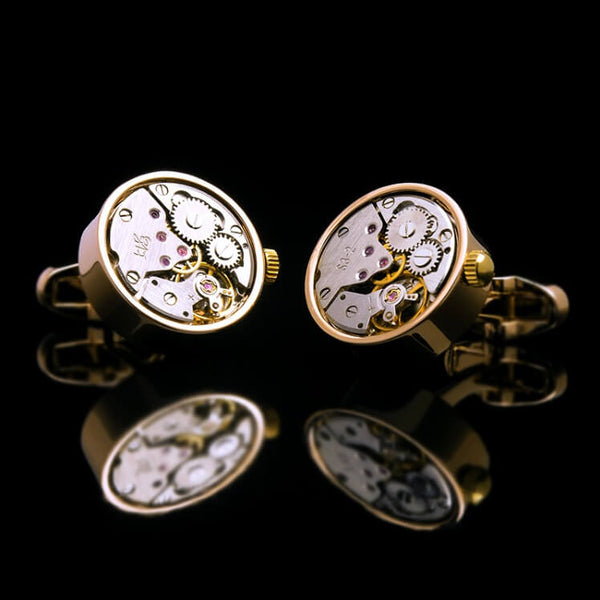 Gear Movement Winding Cufflinks Gold Plated Featuring A Vintage Mechanical Gear Design In Round Shaped Casing And Crown With Manual Wind Mechanism