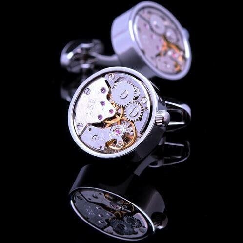 Gear Movement Winding Cufflinks Featuring A Vintage Mechanical Gear Design In Round Shaped Rhodium Plated Casing And Crown With Manual Wind Mechanism