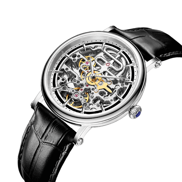 Grand Master Tourbillon Complication Timepiece Classic Skeleton Design Automatic Watch With Silver Case Bezel And Black Leather Alligator Design Strap