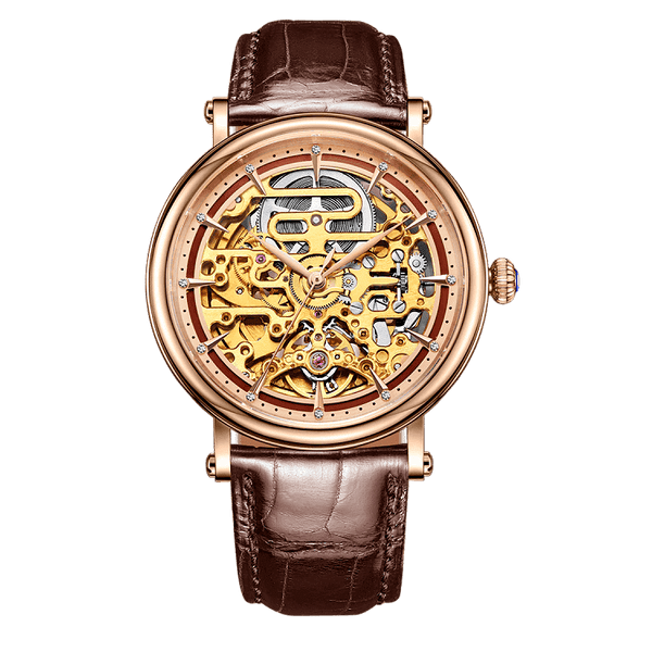 Grand Master Tourbillon Complication Rose Gold Timepiece A Classic Skeleton Design Automatic Watch With Round Case And Brown Leather Alligator Strap