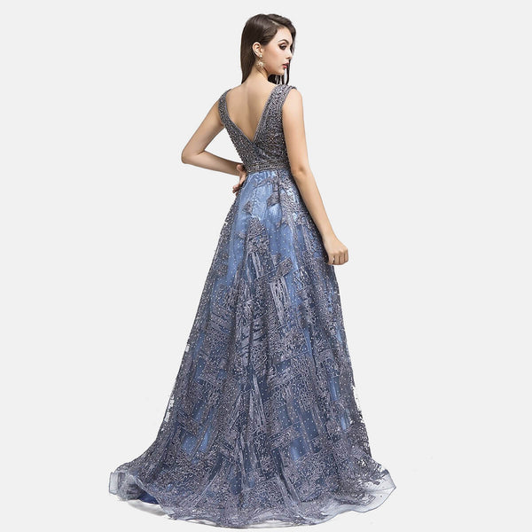 "<p style=""font-size: 18px;""><b>HELENA</b></p><p style=""color:grey"">MOSAIC CRYSTAL BEADED LOW V-NECK A-LINE GOWN</p>"
