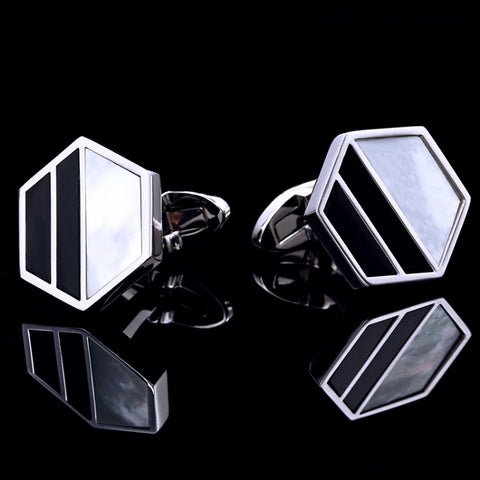 products/Hexagonal-Frame-Pearl-_-Black-Face-Polished-Silver-Cufflinks-2.jpg