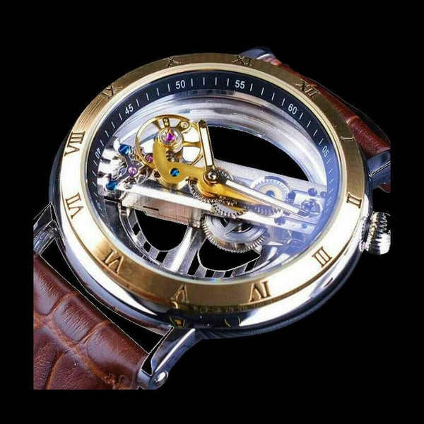 Hollow Masterpiece Movement Timepiece Automatic Transparent Watch With Gold Bezel Case And Brown Leather Alligator Design Strap