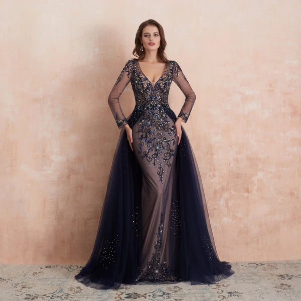 "<p style=""font-size: 18px;""><b>ISABELLA</b></p><p style=""color:grey"">MULTI CRYSTAL BEADED CAPE GOWN-BLUE</p>"