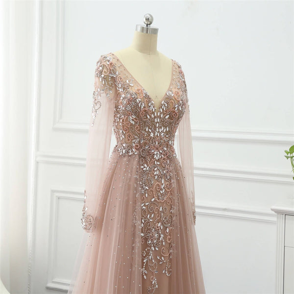 "<p style=""font-size: 18px;""><b>ISABELLA</b></p><p style=""color:grey"">MULTI CRYSTAL BEADED CAPE GOWN-PINK</p>"