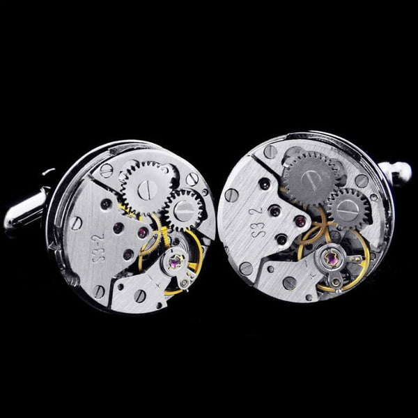 Jewel Movement Cufflinks Featuring A Vintage Mechanical Skeleton Gear Design From Luxury Watches In Rhodium Plated Round Casing