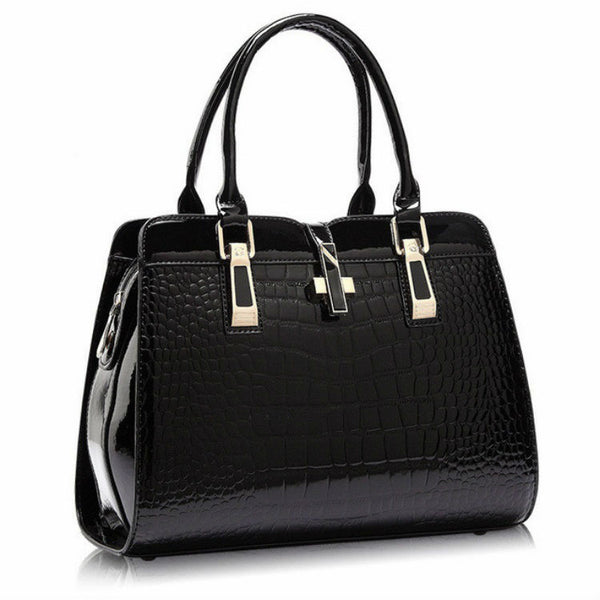 <p><b>MAYFAIR</b><br><p>Patent Leather Croc Handbag</p>