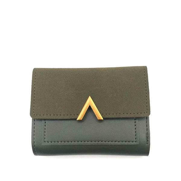<p><b>MINI OBSESSION</b><br><p>Gold V Buckle Flap Nubuck Leather Wallet</p>
