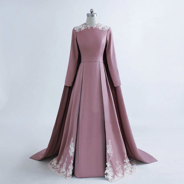 "<p style=""font-size: 18px;""><b>MODESTY</b></p><p style=""color:grey"">FLORAL EMBROIDERED SWEEP SHOULDER CAPE GOWN</p>"