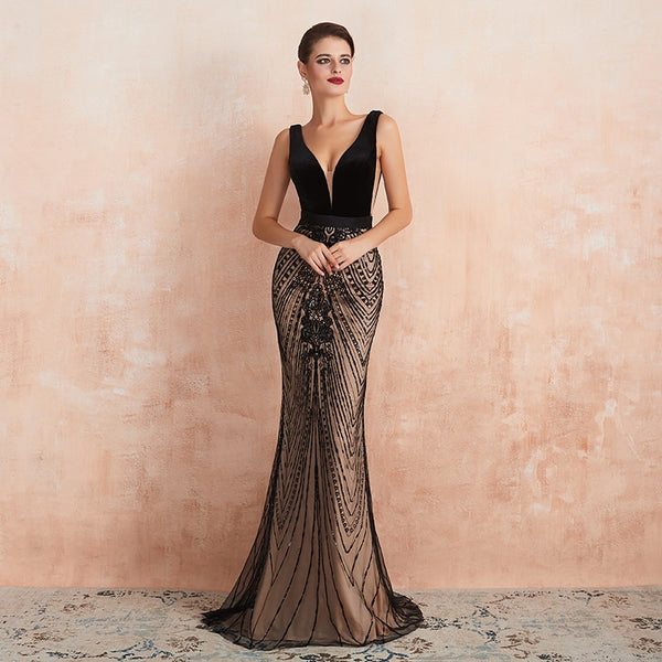 "<p style=""font-size: 18px;""><b>NADINE</b></p><p style=""color:grey"">VELVET & SEQUINNED LOW V-NECK MERMAID GOWN</p>"