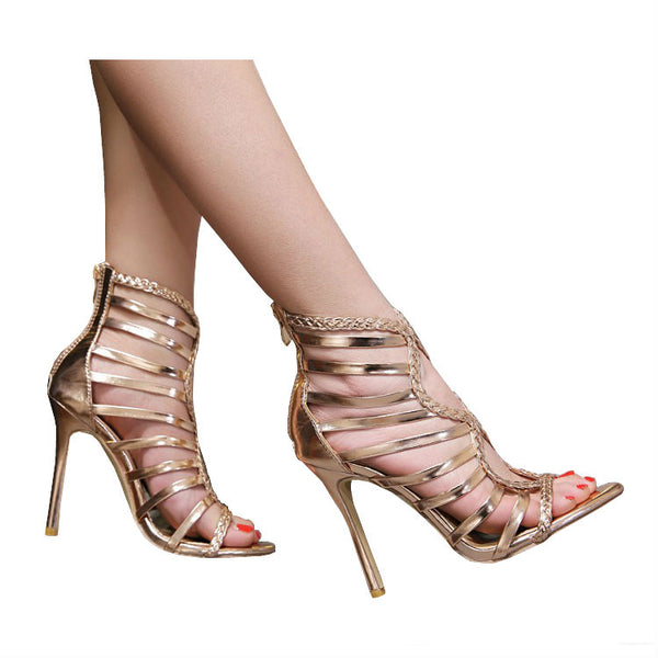 <p><b>OBSESSION</b><br><p>Rose Gold Plaited Strap Heels</p>