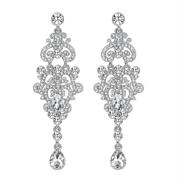 <p><b>OCCASION</b><br><p>Silver Rhinestone Crystal Silver Chandellier  Earrings</p>