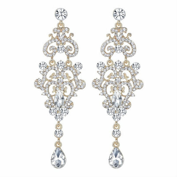 <p><b>OCCASION</b><br><p>Silver Rhinestone Crystal Silver & Gold Tone Chandellier  Earrings</p>