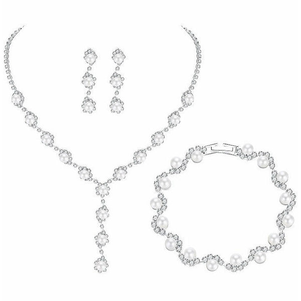 <p><b>PEARL DROPS</b><br><p>Silver Pearl & Crystal Necklace, Earrings & Bracelet Set</p>