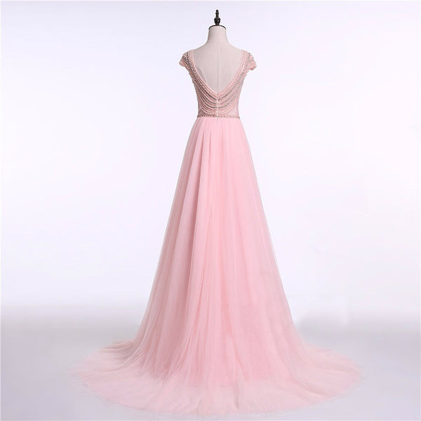"<p style=""font-size: 18px;""><b>PINK PEARLS</b></p><p style=""color:grey"">PEARL & CRYSTAL BEADED A-LINE GOWN</p>"