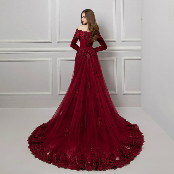 "<p style=""font-size: 18px;""><b>VALENTINE</b></p><p style=""color:grey"">OFF-SHOULDER CRYSTAL BEADED VELVET GOWN</p>"